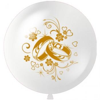 Большой шар с гелием 1 метр  Свадебные кольца 1шт