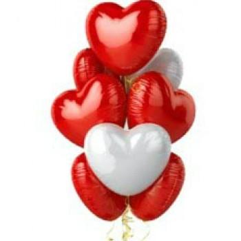 """Шары с гелием """"Сердца белые и красные"""" (75 см) 9 шт."""