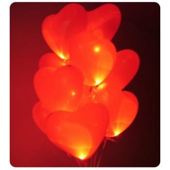 Светящиеся сердца с гелием большие (40 см) 50 шт. Очень круто смотрится !!