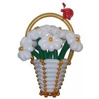 """Корзина с цветами из воздушных шаров """"Прекрасные ромашки"""""""