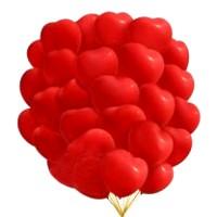 """Шары с гелием """"Сердца красные"""" (45 см) 25 шт."""