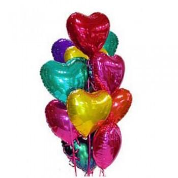 """Шары с гелием """"Сердца любовное ассорти"""" (45 см) 15 шт."""