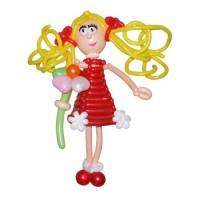 """Фигура из шариков """"Девочка в красном платье"""""""