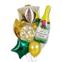 """Букет из шаров """"Новогодний подарок с шампанским"""""""