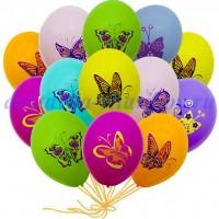 """Шары с гелием """"Бабочки"""" (30 см) 50 шт."""