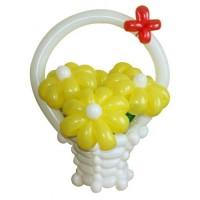 """Корзина с цветами из воздушных шаров """"5 желтых ромашек"""""""