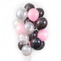 """Шары с гелием """"Черные, серебреные и розовые"""" (30 см) 25 шт."""