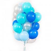 """Шары с гелием """"Серебро, синий и голубой"""" (30 см) 25 шт."""